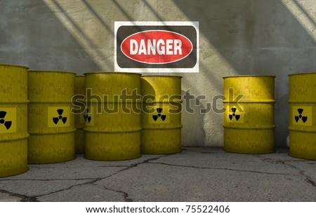 Radioactive barrels - stock photo