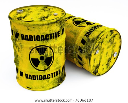 radioactive barrels - stock photo