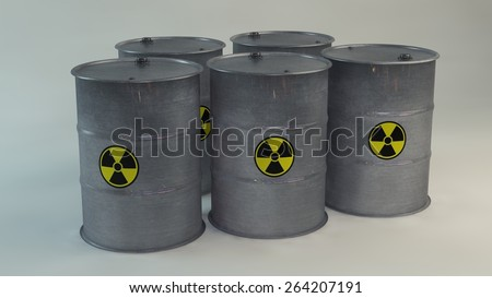 Radioactive barrels with sign of radiation. 3D - stock photo