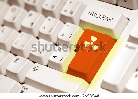 radioactive button on a keyboard computer in orange