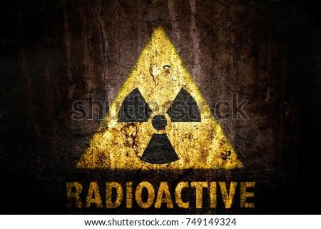 Radioactive Ionizing Radiation Danger Symbol Word Stock Photo 100