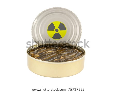 Radioactive opened fish can isolated on white - stock photo
