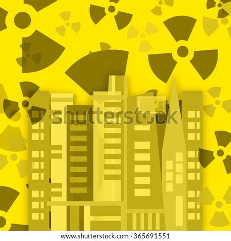 Radioactive pollution in the city - stock photo