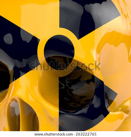 Radioactive sign on yellow lacquered skull, detail, zoomed, 3d rendering - stock photo