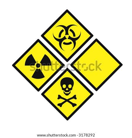 radioactive signs  - symbols of radiation - stock photo