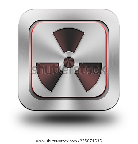 Radioactive symbol, aluminum, steel, chromium, glossy, icon, button, sign, icons, buttons, crazy colors
