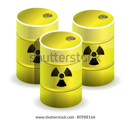 radioactive symbol imprinted onto a nuclear waste barrels
