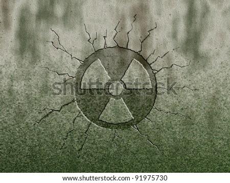 radioactive symbol on stone background - stock photo