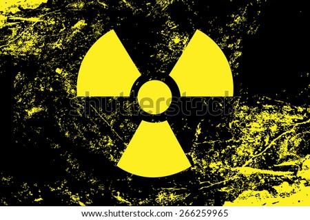 Radioactive symbol. Radiation, nuclear, atomic, energy, toxic, waste, quarantine, contamination, radioactivity concepts. Stylized grunge flag or background 2. Raster version. - stock photo