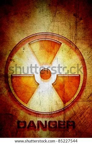 Radioactive warning sign of danger - stock photo