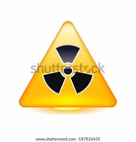 Radioactive warning symbol in a triangle