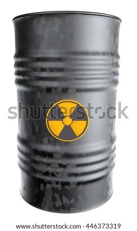 radioactive waste barrel - stock photo