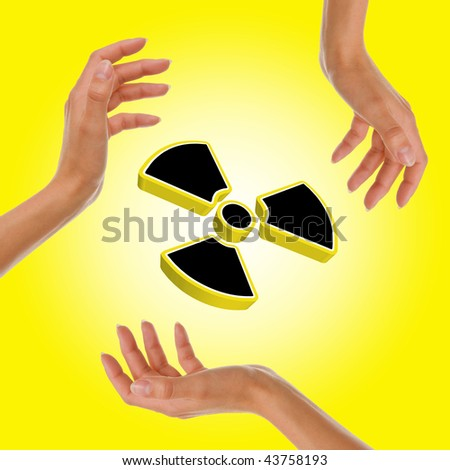 Radioactive yellow sign - stock photo