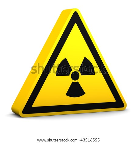 Radioactive yellow sign on a white background. Part of a series.