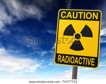 Radioactivity sign against the blue sky with clouds, caution radioactive, 3d render - stock photo