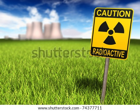 Radioactivity sign on a grassy field and nuclear power plant in background, 3d render - stock photo