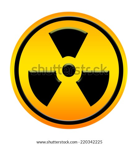 radioactivity yellow circle sign board backgroung - stock photo
