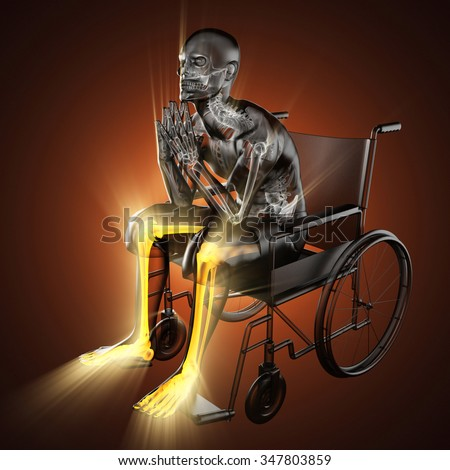 radiography of man in wheelchair