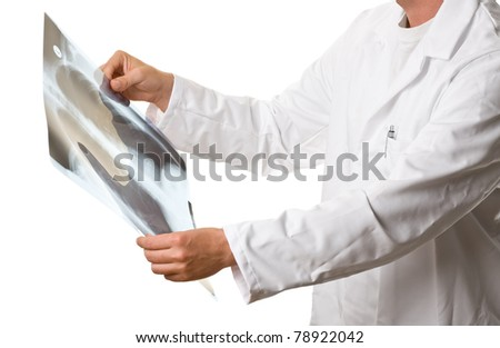Radiologist checking xray image of lungs isolated on white - stock photo