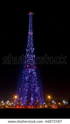 Radiostation in night - stock photo
