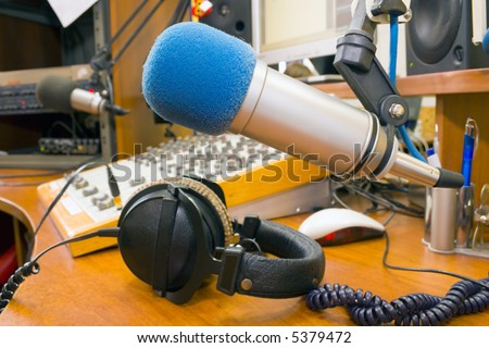 Radiostation, preparing the news broadcast. - stock photo