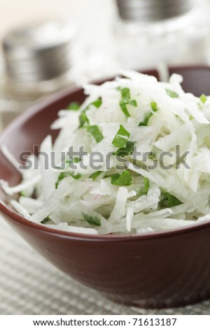 Radish and green onion salad in the brown bowl - stock photo