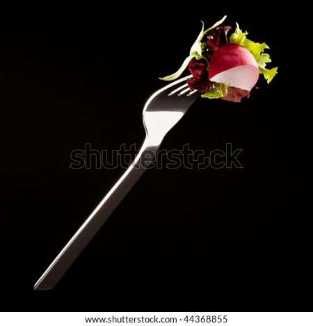 Radish and salad on a fork isolated on black - stock photo