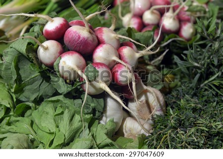 radish and vegetables in the supermarket
