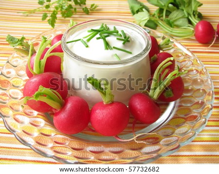 Radishes with yoghurt and chives - stock photo