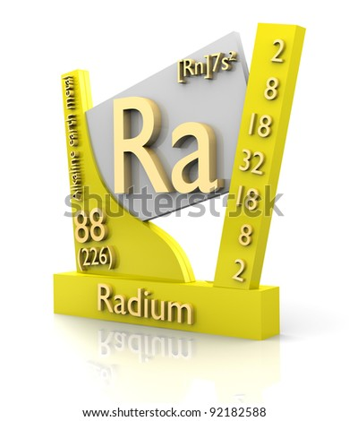 Radium form Periodic Table of Elements - 3d made - stock photo