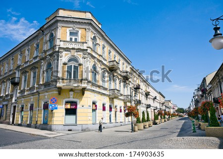 RADOM CITY, POLAND - April 08: One of the main thoroughfares of Radom City, place for tourists, with interesting shops and events. April 08 2013 Poland - stock photo