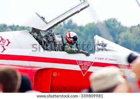 "RADOM, POLAND - AUGUST 22, 2015: Display od swiss group ""Patrouille Suisse"". Airshow event on 22 August 2015, Radom, Poland  - stock photo"