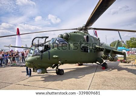 RADOM, POLAND - AUGUST 22, 2015: Polish Mi-24 attack helicopter. Airshow event on 22 August 2015, Radom, Poland  - stock photo