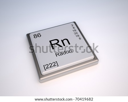 Radon chemical element of the periodic table with symbol Rn - IUPAC - stock photo