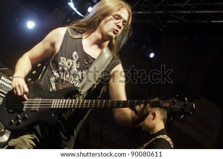 "RADZIONKÓW - 2011 AUGUST 27:  ""Another world""  - heavy metal group during performance called "" Dobry rock europo"" in Radzionków. Poland - stock photo"
