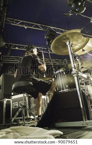 """RADZIONKÓW - 2011 AUGUST 27:  Tomasz """"krzyyk"""" Krzyaniak - Drumer of """"Turbo""""  - heavy metal group during performance called """" Dobry rock europo"""" im Radzionków. Poland - stock photo"""