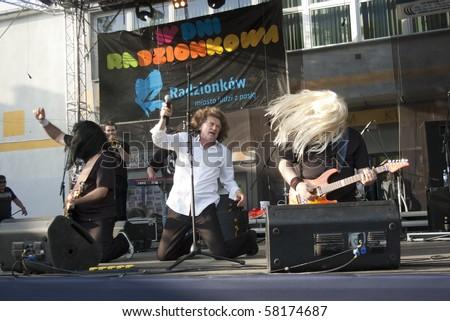 """RADZIONKOW, POLAND - JUNE 11: The show of Zbigniew Wodecki band during """"days of Radzonkow"""". June 11, 2010 in Radzionkow,(Silesia province), Poland. - stock photo"""