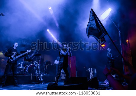 "RADZIONKOW, POLAND - SEPTEMBER 02: The show of Oberschlesien band during StreetART festival"". September 02, 2012 in Radzionkow,(Silesia province), Poland. - stock photo"