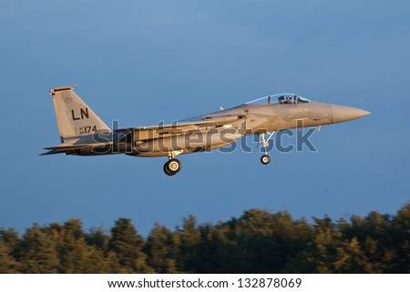 RAF LAKENHEATH, SUFFOLK, UK - SEPTEMBER 4: 493rd Fighter Squadron F-15C Eagle 86-0174 on final approach to land on September 4, 2012 at RAF Lakenheath, Suffolk, UK.