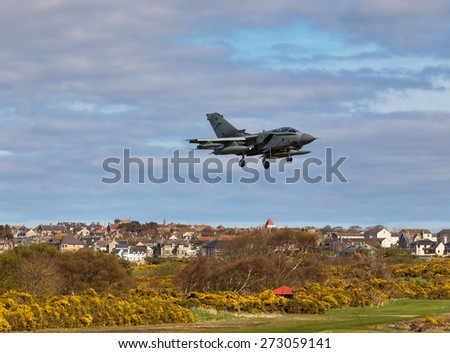 RAF LOSSIEMOUTH, MORAY, SCOTLAND - 23 APRIL: This is a Jet approaching the runway at RAF Lossiemouth, Moray, Scotland during Exercise Joint Warrior on 23 April 2015.