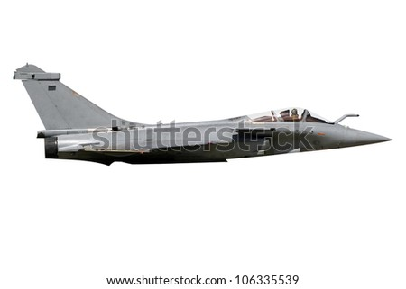 Rafale military fighter jet plane isolated - stock photo