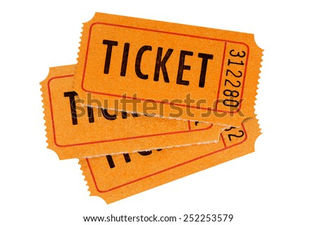 Raffle ticket : Fan shape stack of three orange raffle or movie tickets isolated on white background.   - stock photo