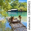 Raft on the bank of  lagoon - stock photo