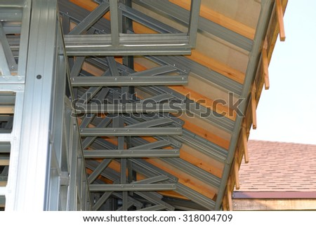 rafter iron truss frame house background