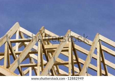 Rafters of a house at a construction site