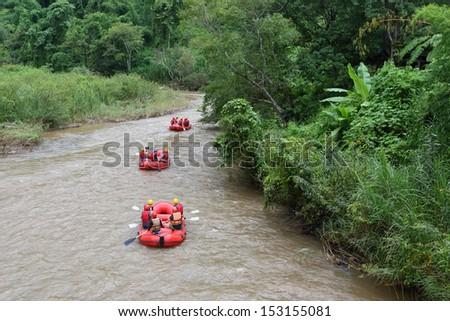 Rafting advanture in rainforest, Thailand - stock photo