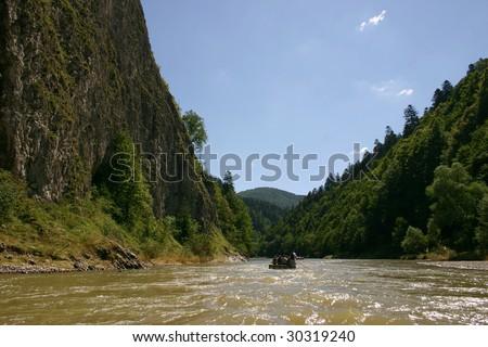 rafting at river - Dunajec - Poland - stock photo