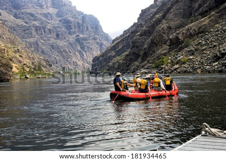Rafting down the Snake River canyon, Idaho - stock photo