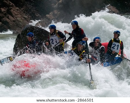 rafting in wild water