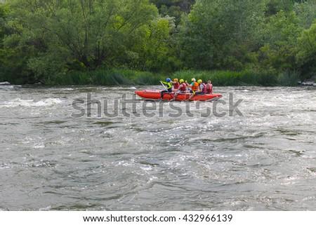 Rafting on Southern Bug river - stock photo